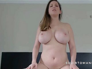 Busty Babe Riding Dildo and Squirting Hairy Pussy