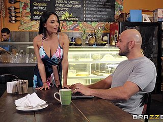 Busty barista is in for a naughty action with the generous client