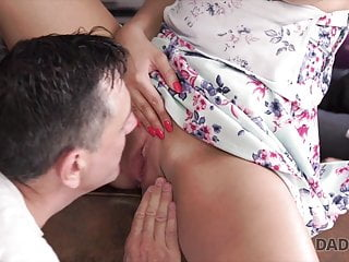 Agitated dad tastes pussy of son's hot and erotic girlfriend