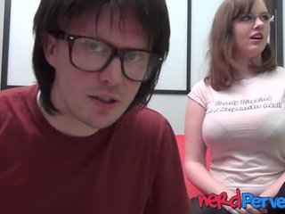 Nerdy sweeping fro huge natural tits Jessica Lo sucks dick POV