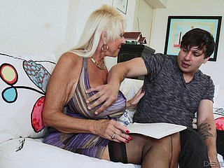Blonde granny close to stockings breaks a sweat on a younger stud's flannel hardcore